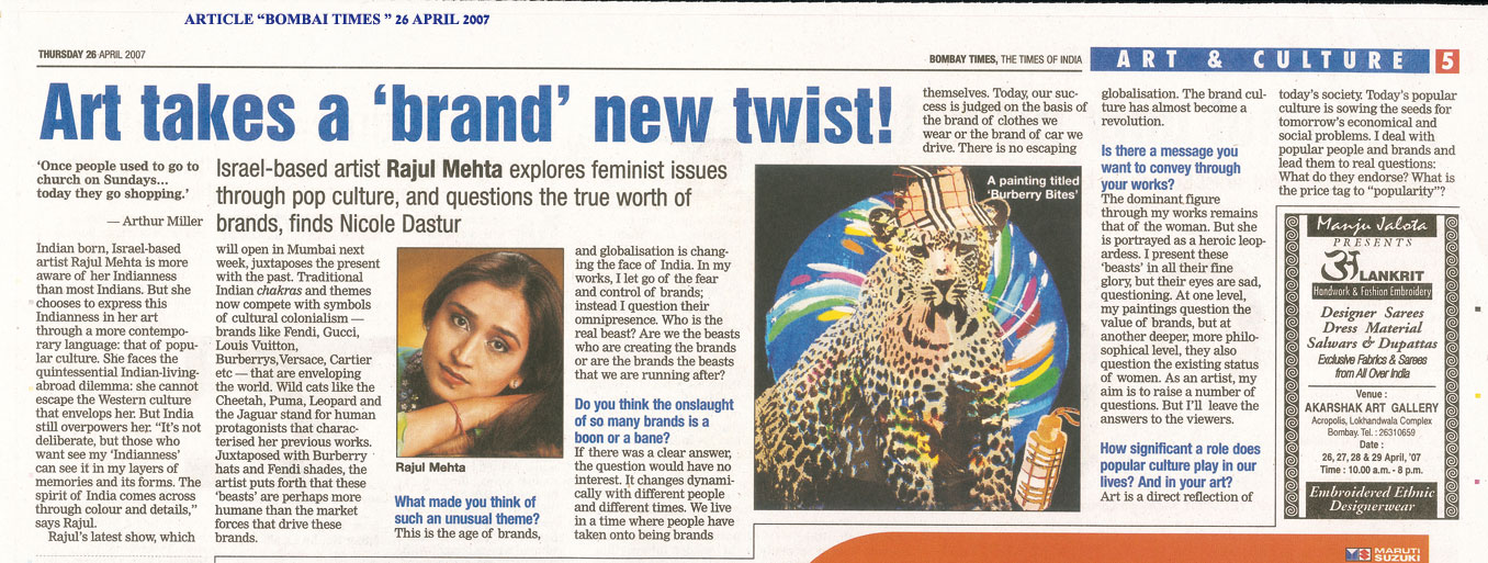 BOMBAY TIMES,TIMES OF INDIA-ART-CULTURE-26-APRIL-07
